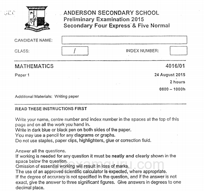 Smartguppy Anderson Secondary School 2015 E Math Prelims