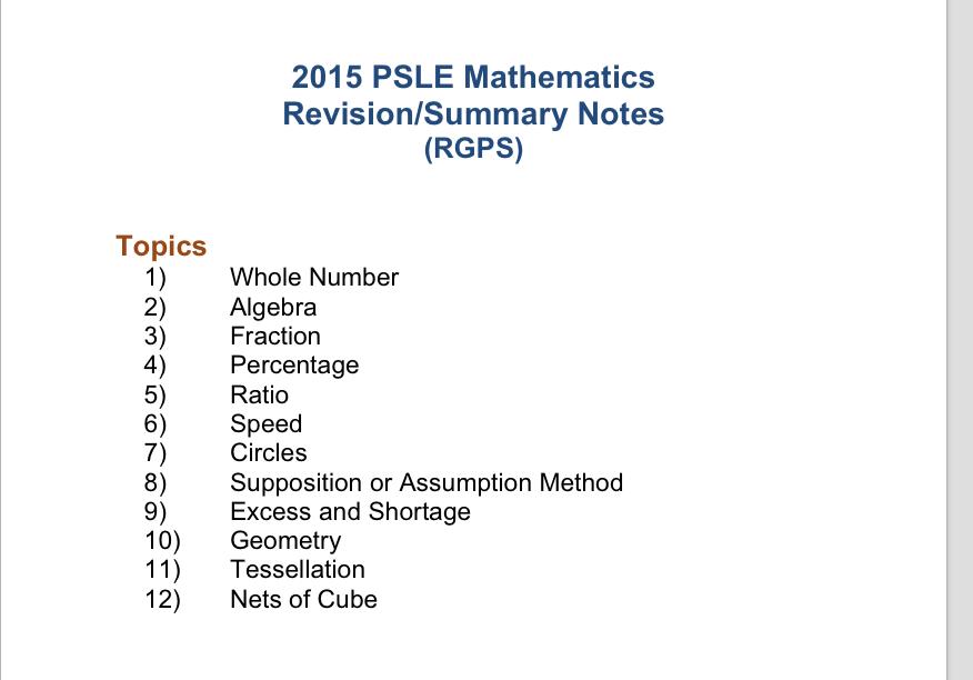 SmartGuppy | 2015 RGPS Maths Revision Notes