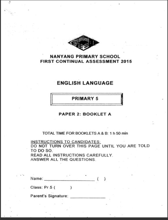 SmartGuppy   2015 P5 English CA1 Nanyang Exam Papers